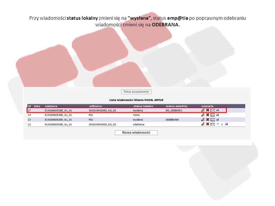Lista komunikatów - emp@tia W tej części systemu mamy dostęp do widoku aktywności wszystkich użytkowników związanych z działaniem modułu emp@tia.