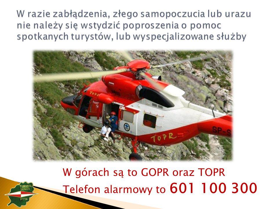W górach są to GOPR oraz TOPR Telefon alarmowy to 601 100 300