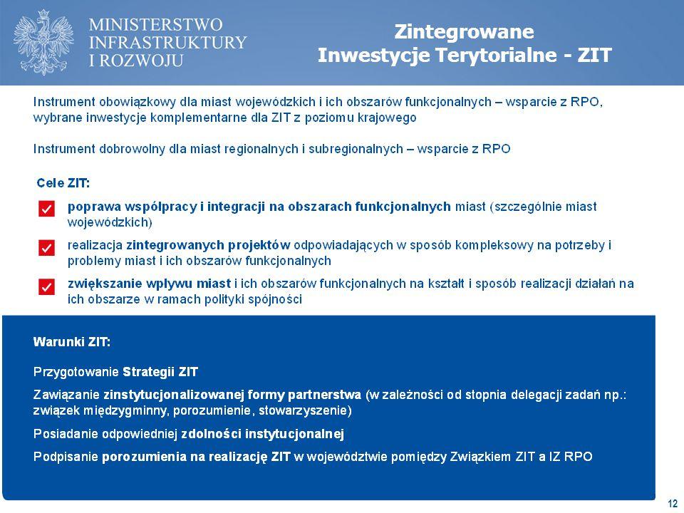 12 Zintegrowane Inwestycje Terytorialne - ZIT