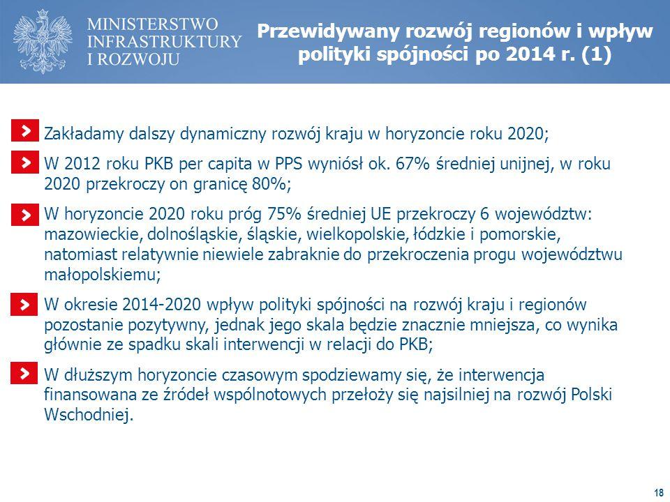 18 Przewidywany rozwój regionów i wpływ polityki spójności po 2014 r.