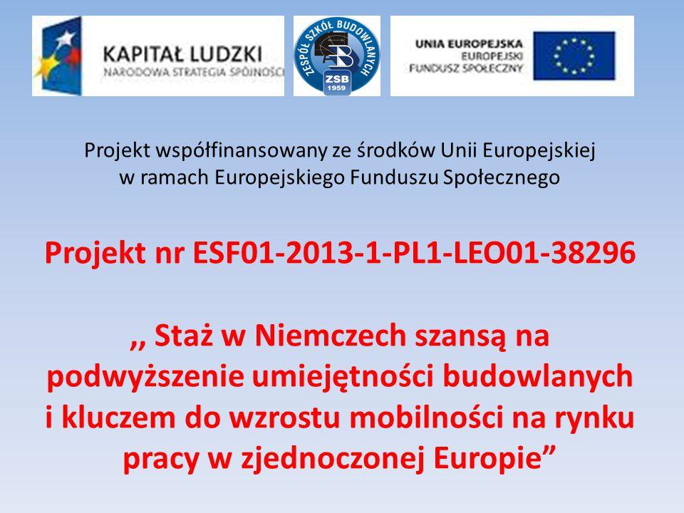 Projekt współfinansowany ze środków Unii Europejskiej w ramach Europejskiego Funduszu Społecznego Projekt nr ESF01-2013-1-PL1-LEO01-38296,, Staż w Nie