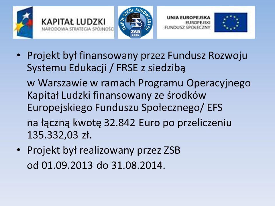 Projekt był finansowany przez Fundusz Rozwoju Systemu Edukacji / FRSE z siedzibą w Warszawie w ramach Programu Operacyjnego Kapitał Ludzki finansowany