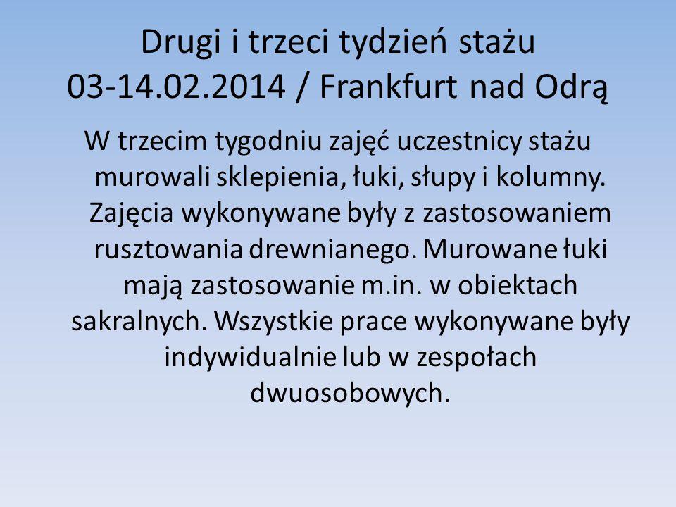 Drugi i trzeci tydzień stażu 03-14.02.2014 / Frankfurt nad Odrą W trzecim tygodniu zajęć uczestnicy stażu murowali sklepienia, łuki, słupy i kolumny.