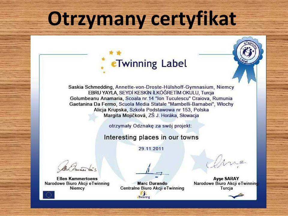 Otrzymany certyfikat