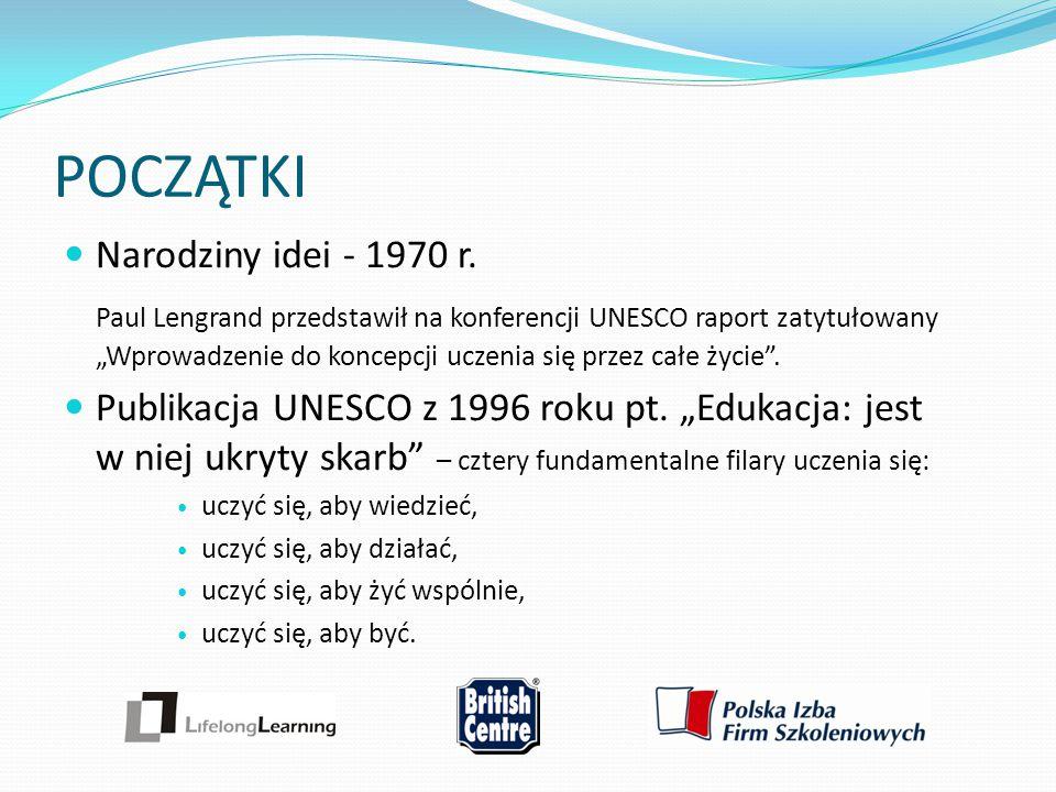 """POCZĄTKI Narodziny idei - 1970 r. Paul Lengrand przedstawił na konferencji UNESCO raport zatytułowany """"Wprowadzenie do koncepcji uczenia się przez cał"""