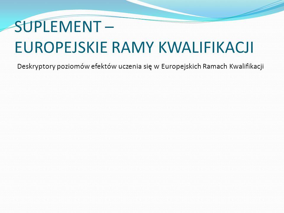 SUPLEMENT – EUROPEJSKIE RAMY KWALIFIKACJI Deskryptory poziomów efektów uczenia się w Europejskich Ramach Kwalifikacji
