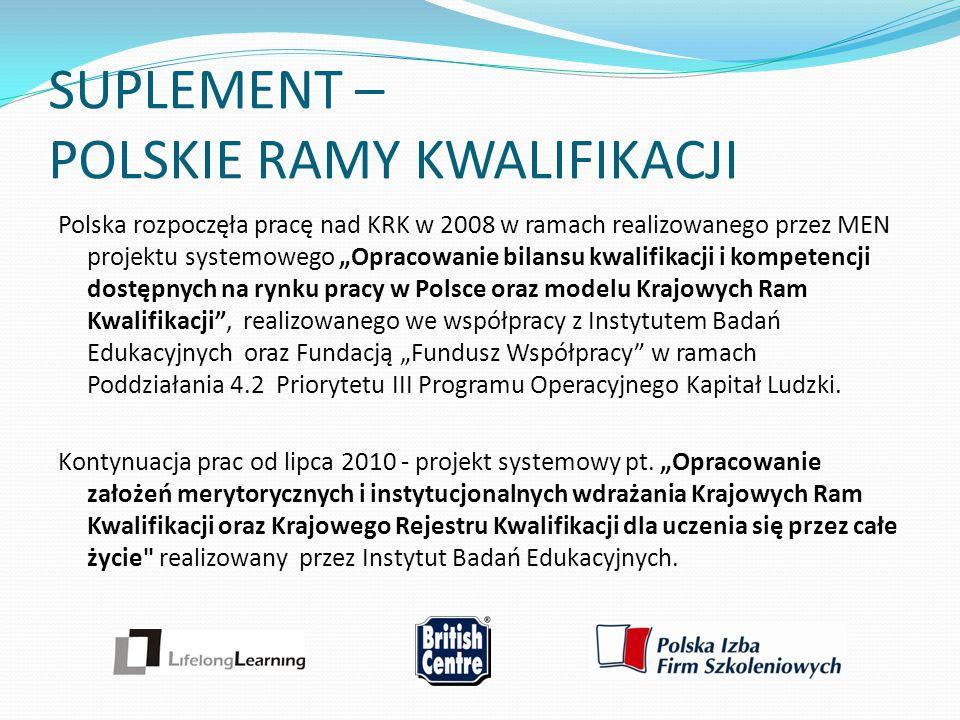 """SUPLEMENT – POLSKIE RAMY KWALIFIKACJI Polska rozpoczęła pracę nad KRK w 2008 w ramach realizowanego przez MEN projektu systemowego """"Opracowanie bilans"""