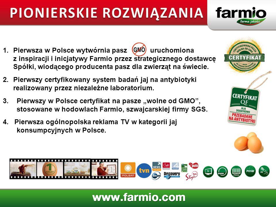 1.Pierwsza w Polsce wytwórnia pasz uruchomiona z inspiracji i inicjatywy Farmio przez strategicznego dostawcę Spółki, wiodącego producenta pasz dla zw