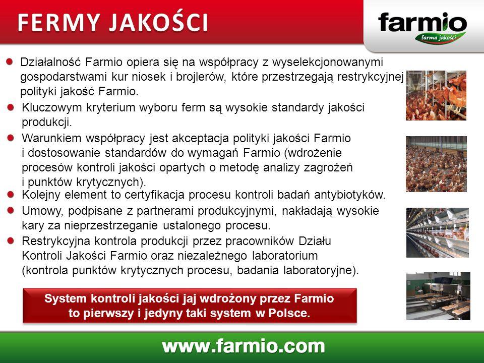 System kontroli jakości jaj wdrożony przez Farmio to pierwszy i jedyny taki system w Polsce. Działalność Farmio opiera się na współpracy z wyselekcjon