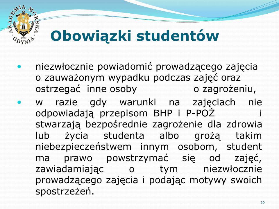 Obowiązki studentów 10 niezwłocznie powiadomić prowadzącego zajęcia o zauważonym wypadku podczas zajęć oraz ostrzegać inne osoby o zagrożeniu, w razie