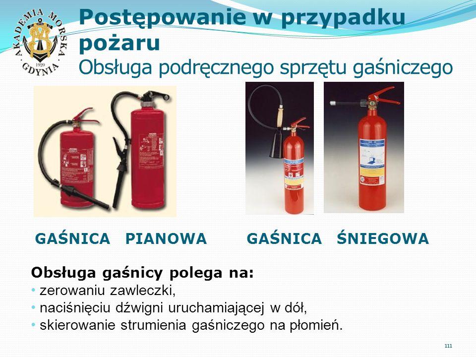 Postępowanie w przypadku pożaru Obsługa podręcznego sprzętu gaśniczego 111 Obsługa gaśnicy polega na: zerowaniu zawleczki, naciśnięciu dźwigni uruchamiającej w dół, skierowanie strumienia gaśniczego na płomień.