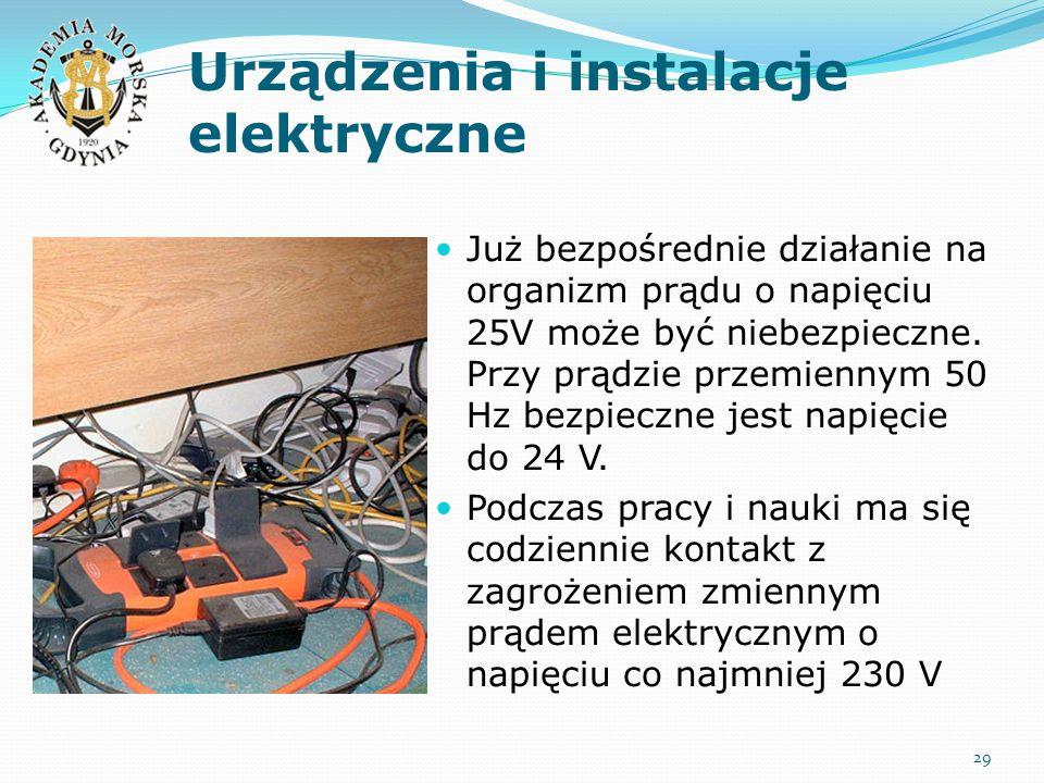 Urządzenia i instalacje elektryczne Już bezpośrednie działanie na organizm prądu o napięciu 25V może być niebezpieczne. Przy prądzie przemiennym 50 Hz