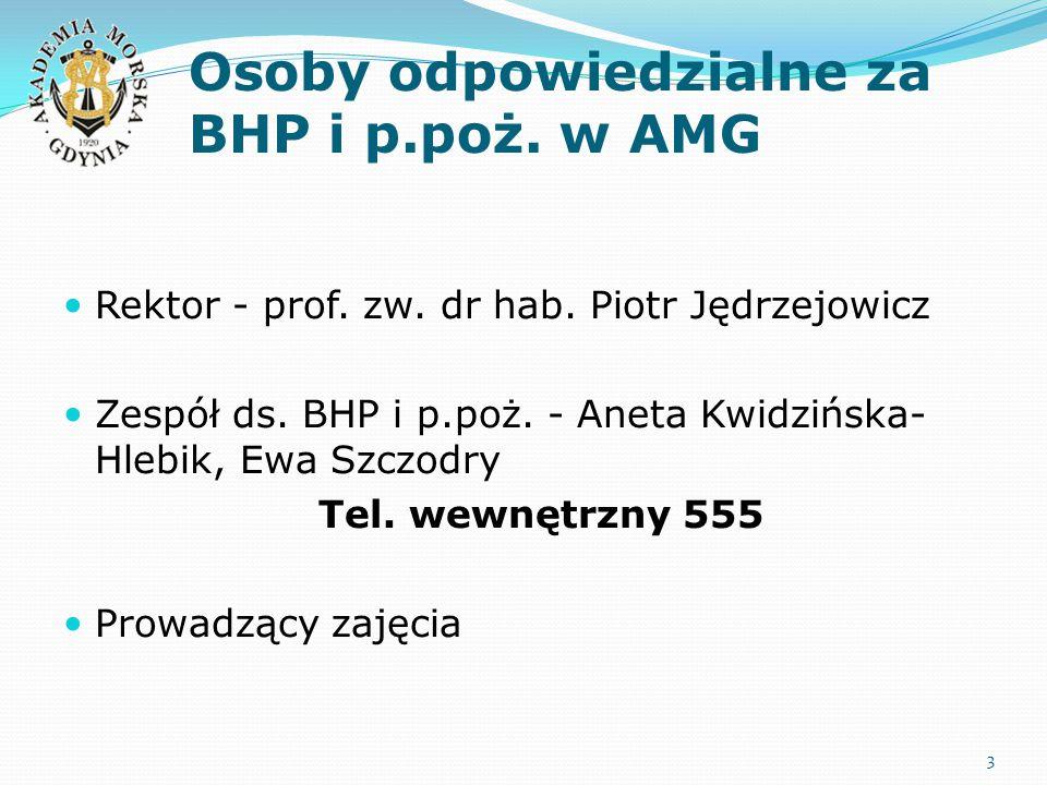 Osoby odpowiedzialne za BHP i p.poż. w AMG Rektor - prof. zw. dr hab. Piotr Jędrzejowicz Zespół ds. BHP i p.poż. - Aneta Kwidzińska- Hlebik, Ewa Szczo