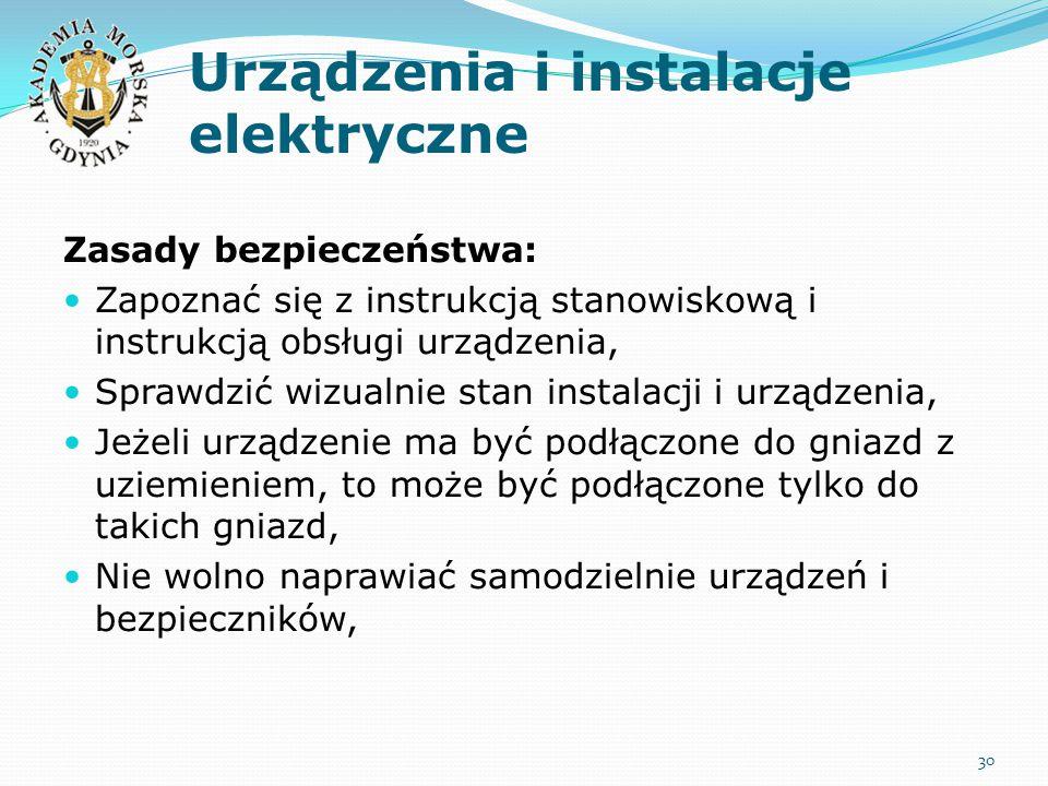Urządzenia i instalacje elektryczne Zasady bezpieczeństwa: Zapoznać się z instrukcją stanowiskową i instrukcją obsługi urządzenia, Sprawdzić wizualnie