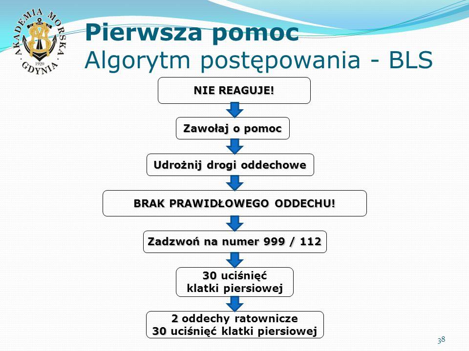 Pierwsza pomoc Algorytm postępowania - BLS 38 Udrożnij drogi oddechowe 30 30 uciśnięć klatki piersiowej 2 2 oddechy ratownicze 30 30 uciśnięć klatki p