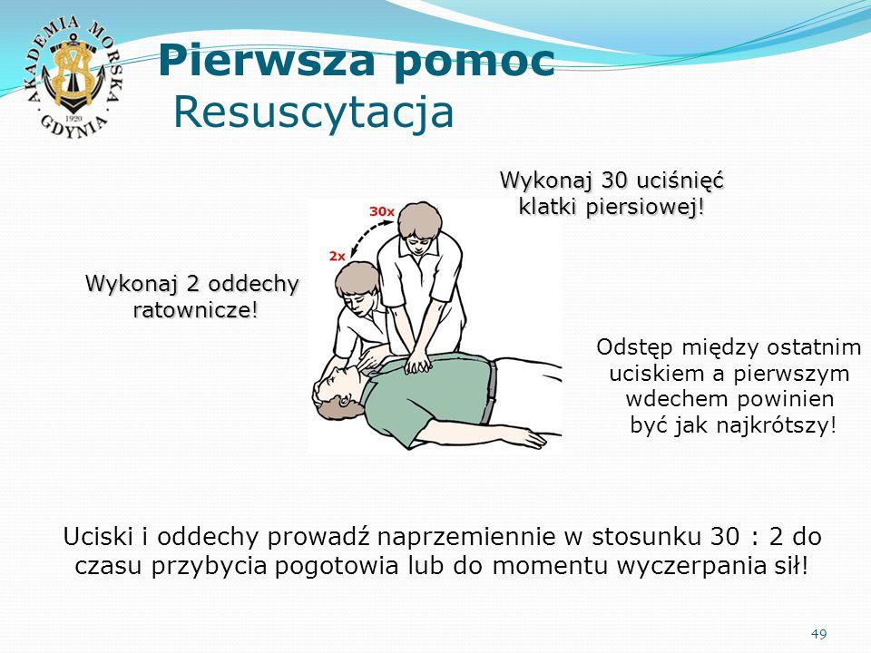 Pierwsza pomoc Resuscytacja 49 Wykonaj 30 uciśnięć klatki piersiowej! Wykonaj 2 oddechy ratownicze! Odstęp między ostatnim uciskiem a pierwszym wdeche