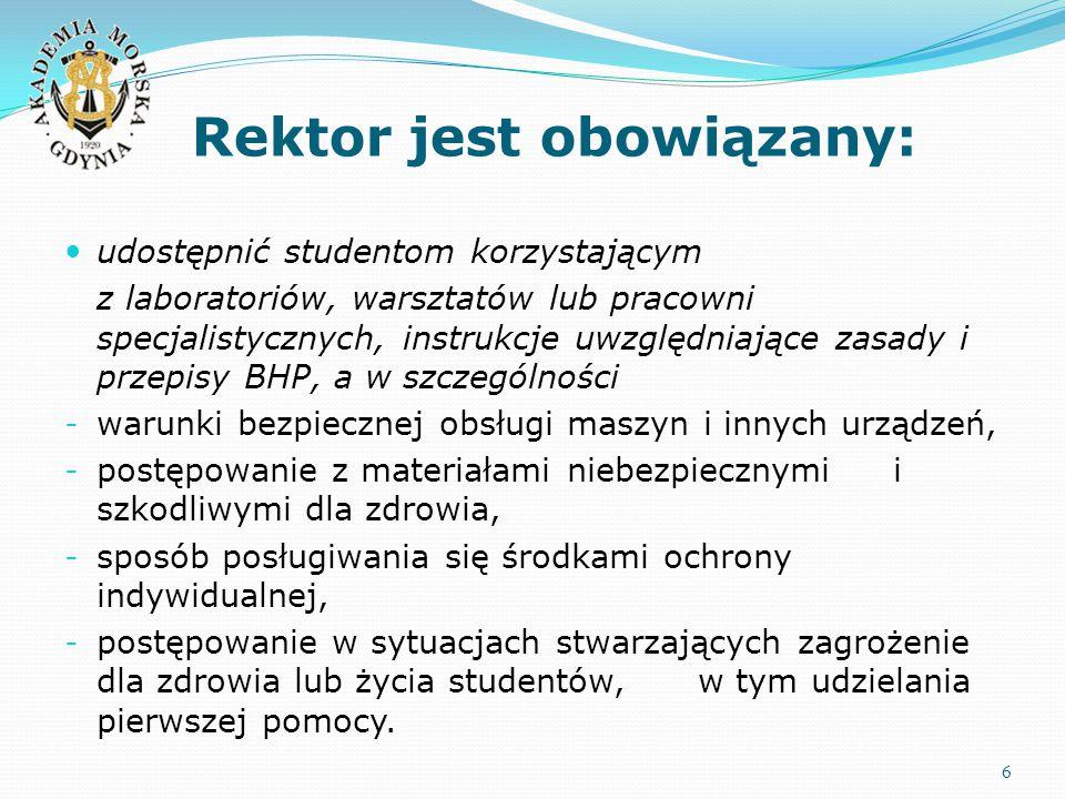 Rektor jest obowiązany: 6 udostępnić studentom korzystającym z laboratoriów, warsztatów lub pracowni specjalistycznych, instrukcje uwzględniające zasa