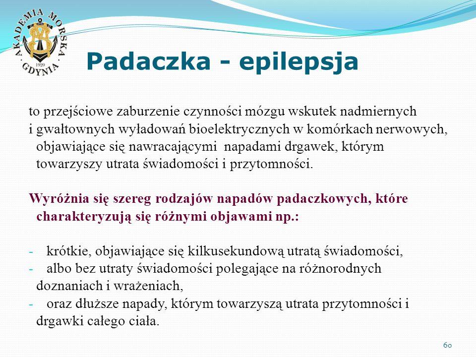 Padaczka - epilepsja 60 to przejściowe zaburzenie czynności mózgu wskutek nadmiernych i gwałtownych wyładowań bioelektrycznych w komórkach nerwowych, objawiające się nawracającymi napadami drgawek, którym towarzyszy utrata świadomości i przytomności.