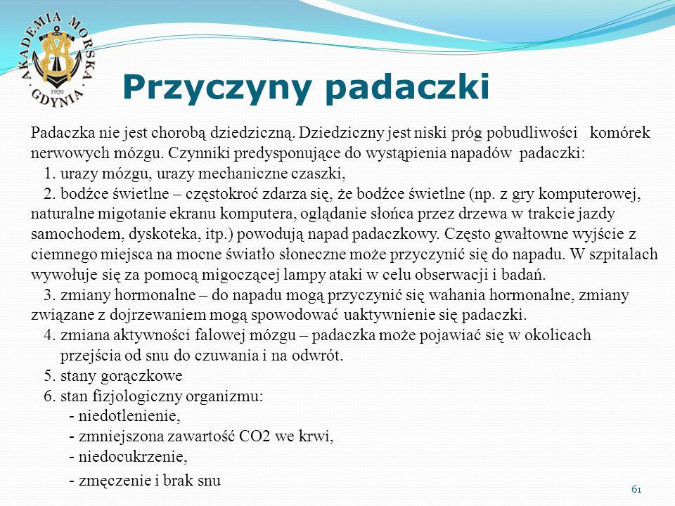 Przyczyny padaczki 61 Padaczka nie jest chorobą dziedziczną. Dziedziczny jest niski próg pobudliwości komórek nerwowych mózgu. Czynniki predysponujące