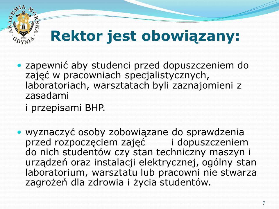 Rektor jest obowiązany: 7 zapewnić aby studenci przed dopuszczeniem do zajęć w pracowniach specjalistycznych, laboratoriach, warsztatach byli zaznajomieni z zasadami i przepisami BHP.
