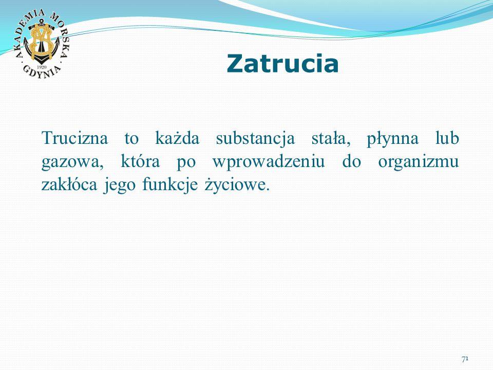 Zatrucia 71 Trucizna to każda substancja stała, płynna lub gazowa, która po wprowadzeniu do organizmu zakłóca jego funkcje życiowe.