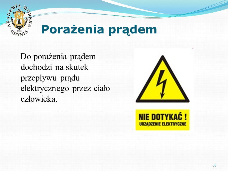 Porażenia prądem 76 Do porażenia prądem dochodzi na skutek przepływu prądu elektrycznego przez ciało człowieka.