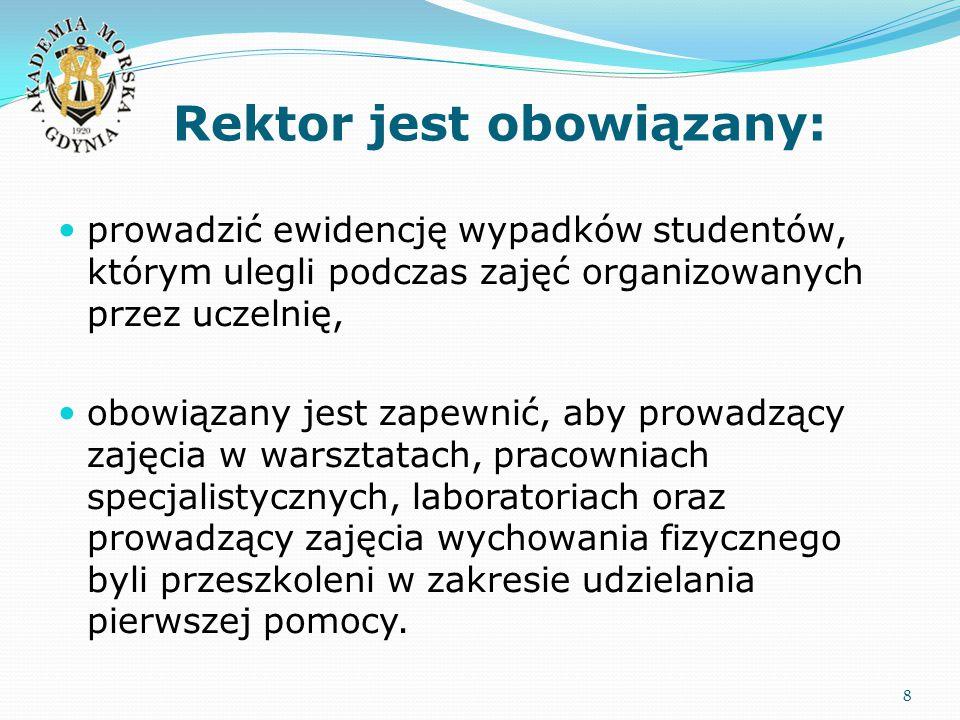 Rektor jest obowiązany: 8 prowadzić ewidencję wypadków studentów, którym ulegli podczas zajęć organizowanych przez uczelnię, obowiązany jest zapewnić,