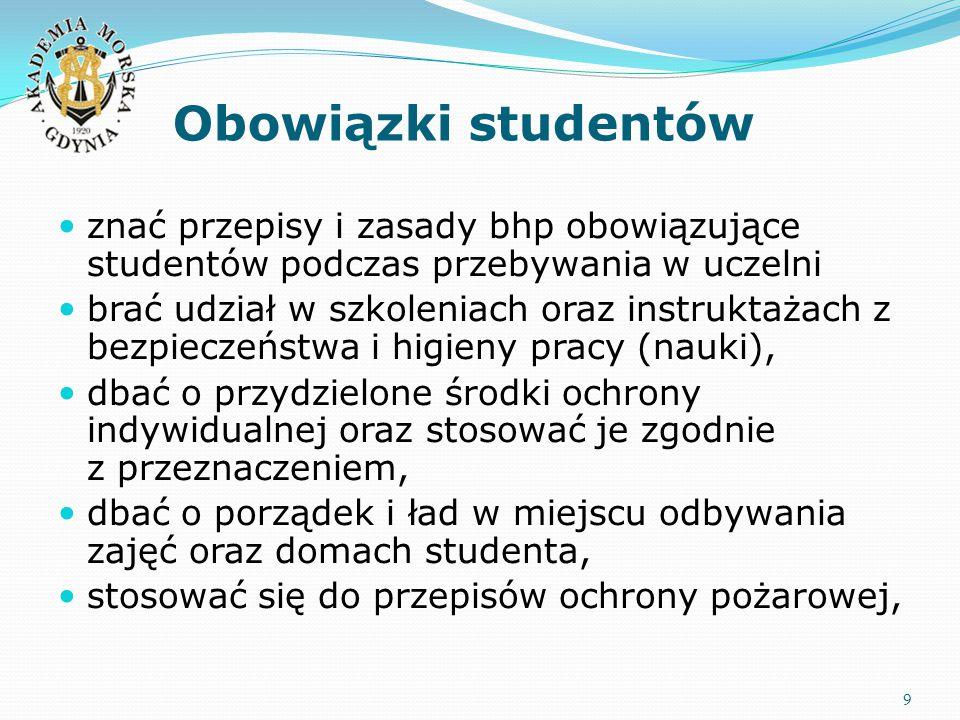 Obowiązki studentów 9 znać przepisy i zasady bhp obowiązujące studentów podczas przebywania w uczelni brać udział w szkoleniach oraz instruktażach z b