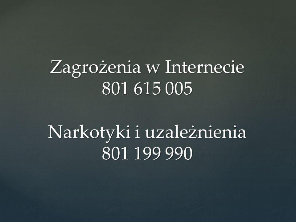 Zagrożenia w Internecie 801 615 005 Narkotyki i uzależnienia 801 199 990