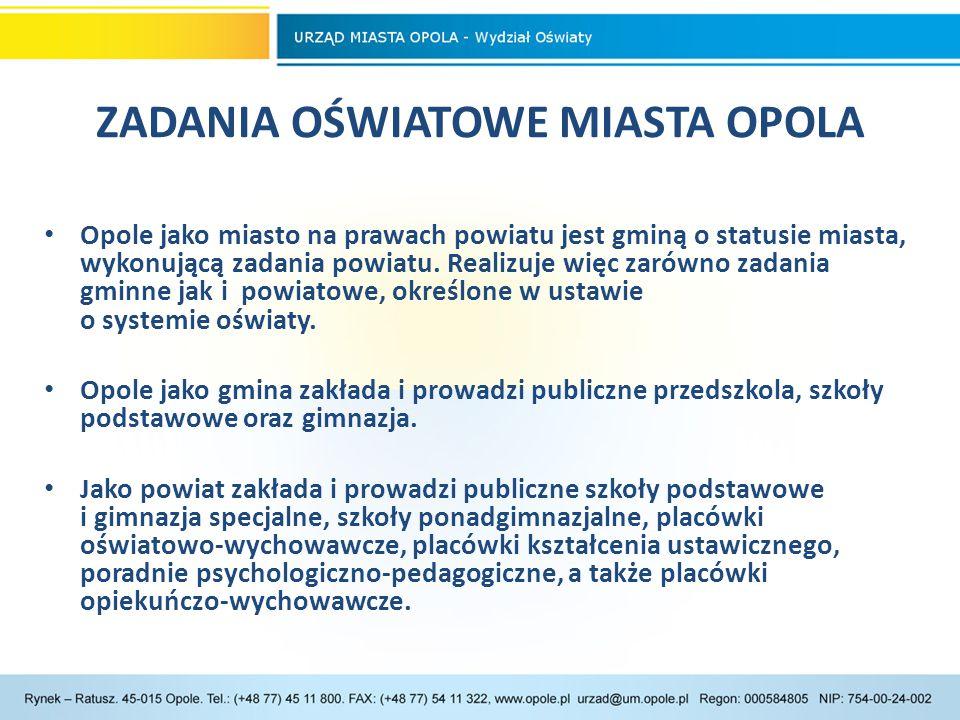 SZKOŁY I PLACÓWKI SZKOŁY I PLACÓWKI W roku szkolnym 2013/14 w Opolu funkcjonowało 105 publicznych przedszkoli, szkół różnego typu oraz placówek oświatowych, prowadzonych przez miasto Opole, w tym: 32 przedszkola, 19 szkół podstawowych, 10 gimnazjów,