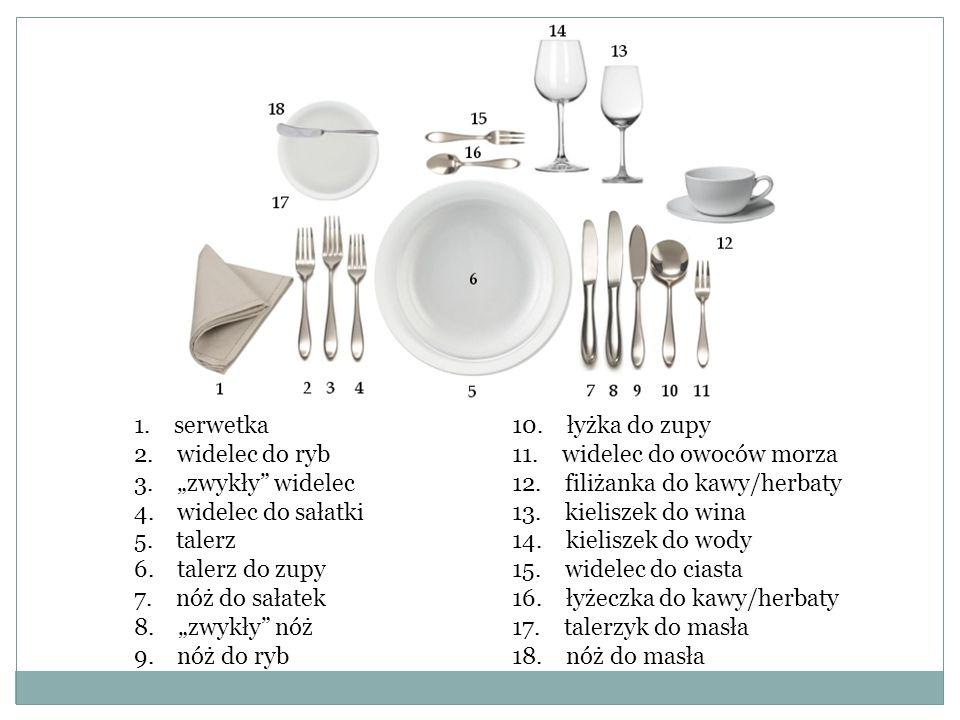 """1. serwetka 2. widelec do ryb 3. """"zwykły"""" widelec 4. widelec do sałatki 5. talerz 6. talerz do zupy 7. nóż do sałatek 8. """"zwykły"""" nóż 9. nóż do ryb 10"""