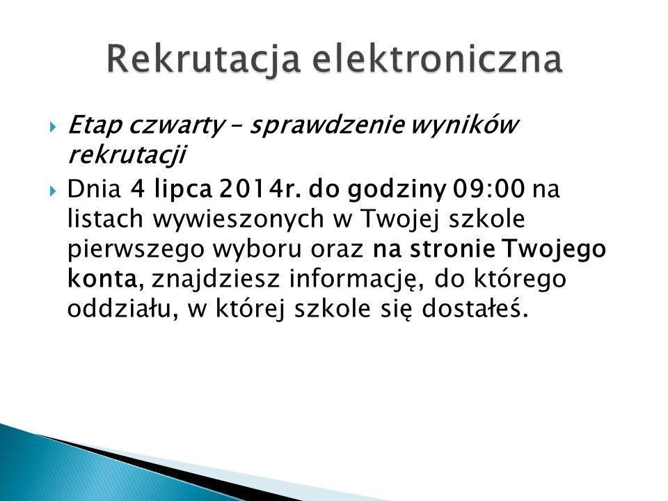  Etap czwarty – sprawdzenie wyników rekrutacji  Dnia 4 lipca 2014r.