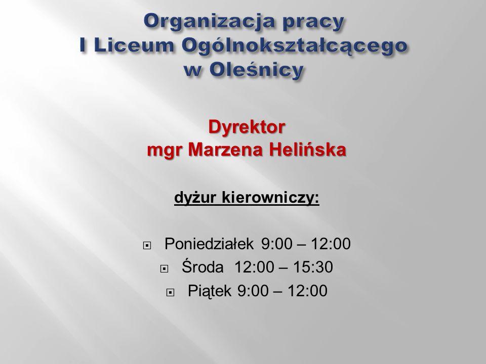 Wicedyrektor mgr Katarzyna Niesobska-Łacny dyżur kierowniczy: poniedziałek 11.00-14.00 wtorek 10.40 – 11.25 i 12.40-13.25 środa 8.00-12.00 czwartek 9.45 – 11.25 i 12.40-14.15 piątek 12.00 -14.00 Pedagog szkolny mgr Katarzyna Wyżyn godziny pracy: poniedziałek 8:30 – 13:30 wtorek 8:30 – 13:30 środa 11:00 – 15:30 czwartek 8:30 – 13:30 piątek 8:30 – 12:00
