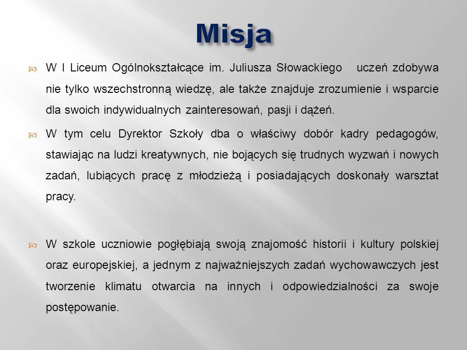  W I Liceum Ogólnokształcące im. Juliusza Słowackiego uczeń zdobywa nie tylko wszechstronną wiedzę, ale także znajduje zrozumienie i wsparcie dla swo