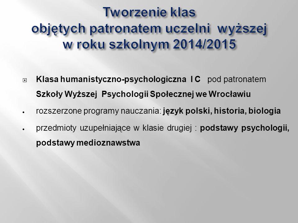  Klasa humanistyczno-psychologiczna I C pod patronatem Szkoły Wyższej Psychologii Społecznej we Wrocławiu  rozszerzone programy nauczania: język pol