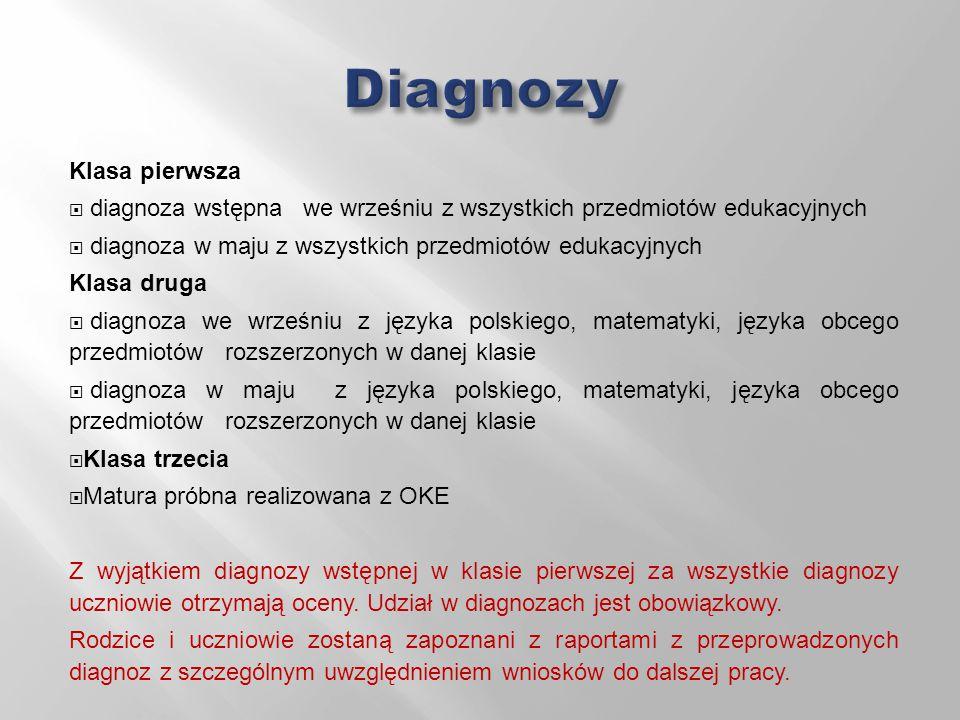 Klasa pierwsza  diagnoza wstępna we wrześniu z wszystkich przedmiotów edukacyjnych  diagnoza w maju z wszystkich przedmiotów edukacyjnych Klasa druga  diagnoza we wrześniu z języka polskiego, matematyki, języka obcego przedmiotów rozszerzonych w danej klasie  diagnoza w maju z języka polskiego, matematyki, języka obcego przedmiotów rozszerzonych w danej klasie  Klasa trzecia  Matura próbna realizowana z OKE Z wyjątkiem diagnozy wstępnej w klasie pierwszej za wszystkie diagnozy uczniowie otrzymają oceny.