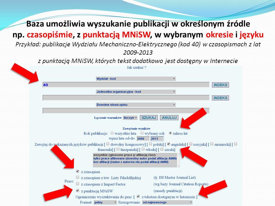 Baza umożliwia wyszukanie publikacji w określonym źródle np. czasopiśmie, z punktacją MNiSW, w wybranym okresie i języku Przykład: publikacje Wydziału