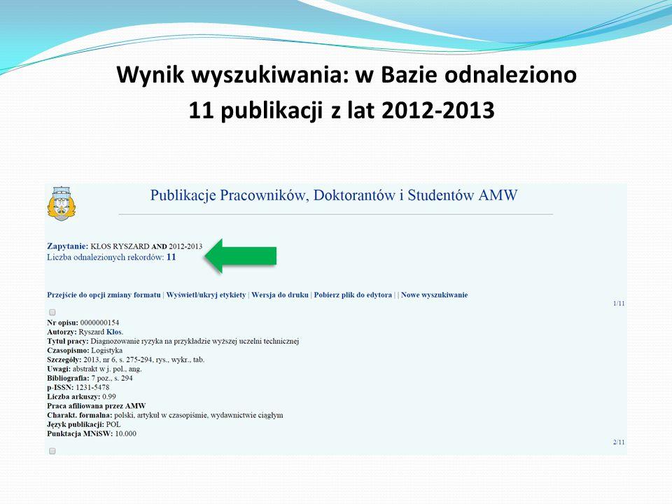 Każdy opis publikacji zawiera m.in.
