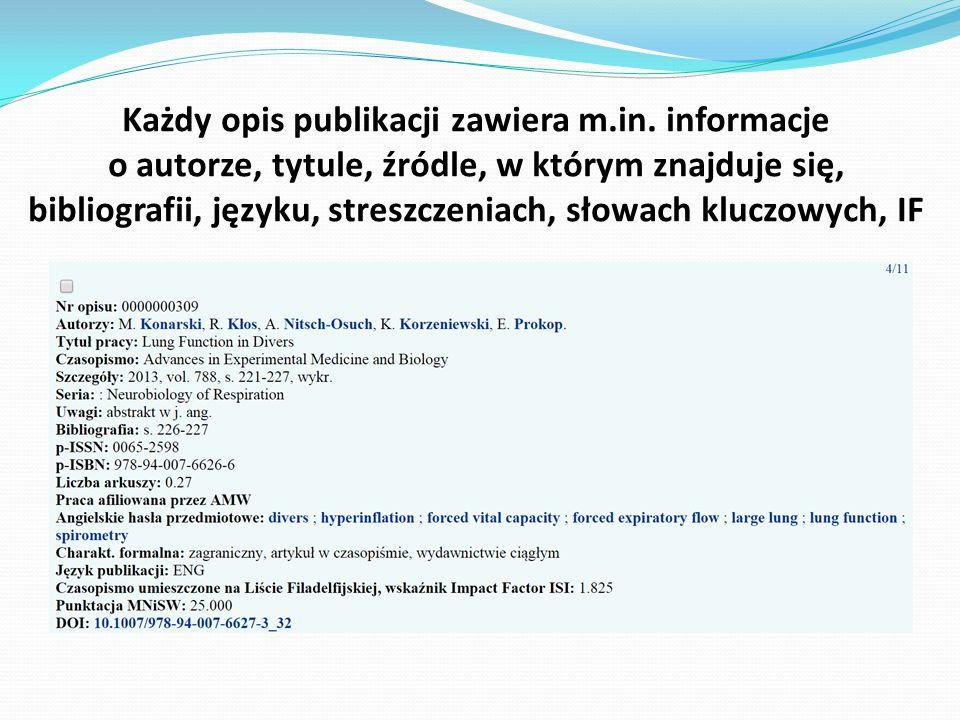 Każdy opis publikacji zawiera m.in. informacje o autorze, tytule, źródle, w którym znajduje się, bibliografii, języku, streszczeniach, słowach kluczow