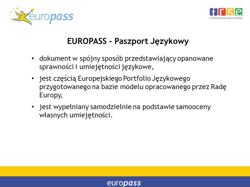 europass EUROPASS - Paszport Językowy dokument w spójny sposób przedstawiający opanowane sprawności i umiejętności językowe, jest częścią Europejskieg