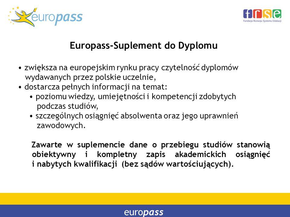 europass Europass-Suplement do Dyplomu zwiększa na europejskim rynku pracy czytelność dyplomów wydawanych przez polskie uczelnie, dostarcza pełnych in