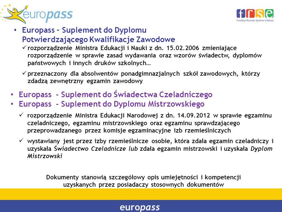 europass Europass – Suplement do Dyplomu Potwierdzającego Kwalifikacje Zawodowe rozporządzenie Ministra Edukacji i Nauki z dn. 15.02.2006 zmieniające