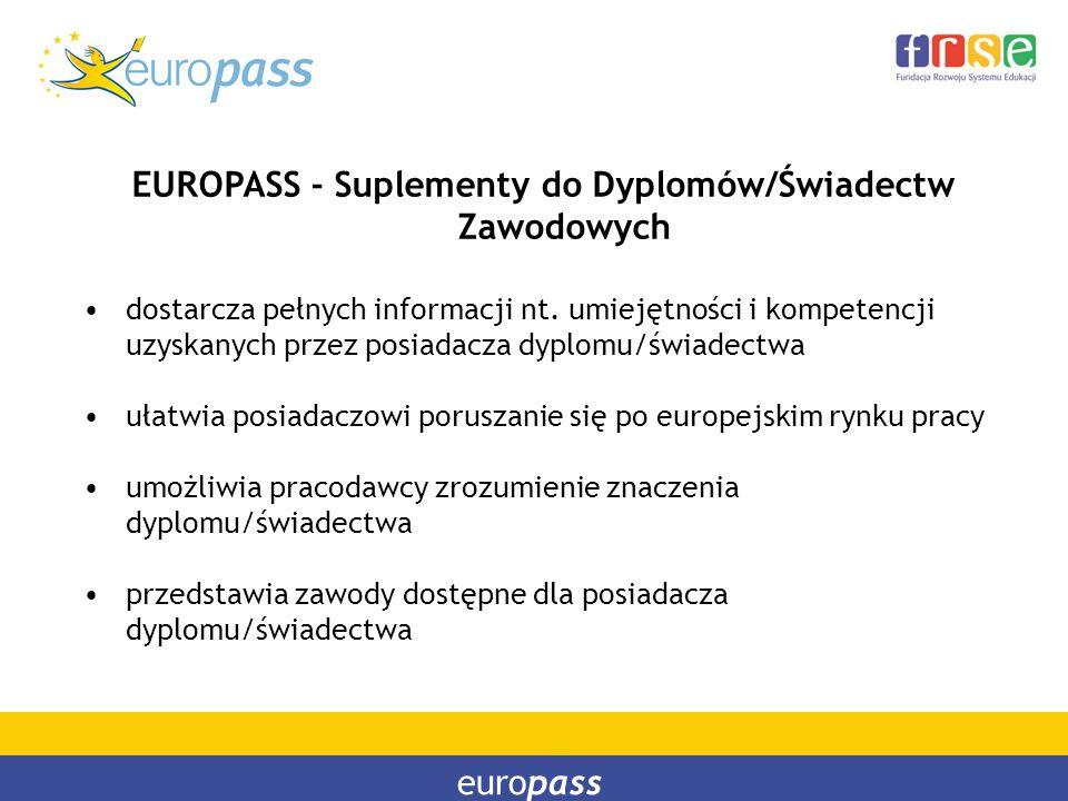 europass EUROPASS - Suplementy do Dyplomów/Świadectw Zawodowych dostarcza pełnych informacji nt. umiejętności i kompetencji uzyskanych przez posiadacz