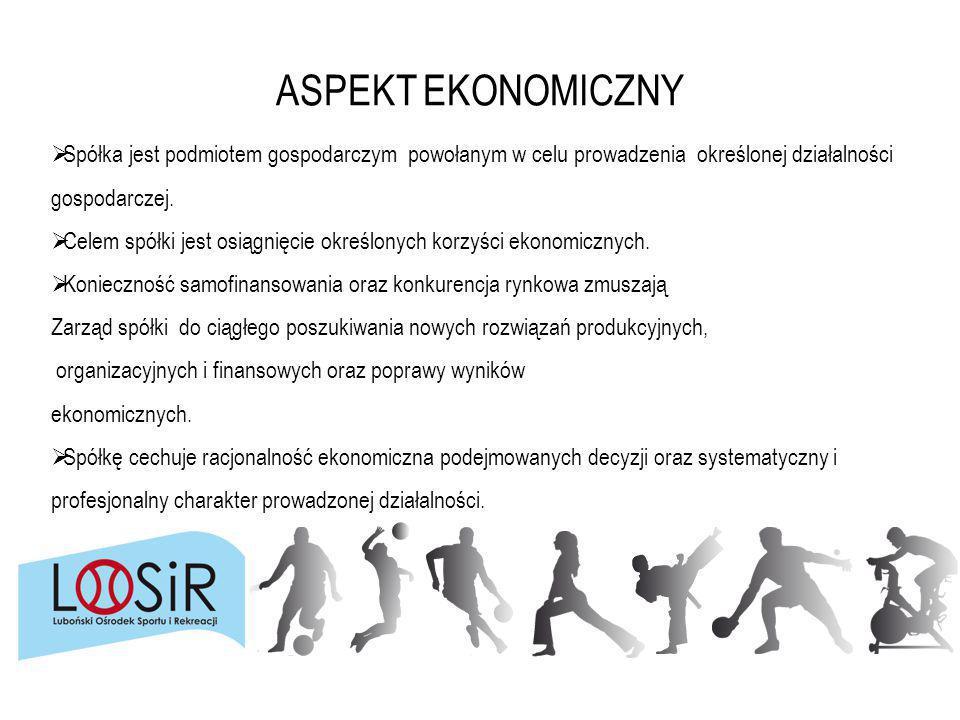 ASPEKT EKONOMICZNY  Spółka jest podmiotem gospodarczym powołanym w celu prowadzenia określonej działalności gospodarczej.  Celem spółki jest osiągni