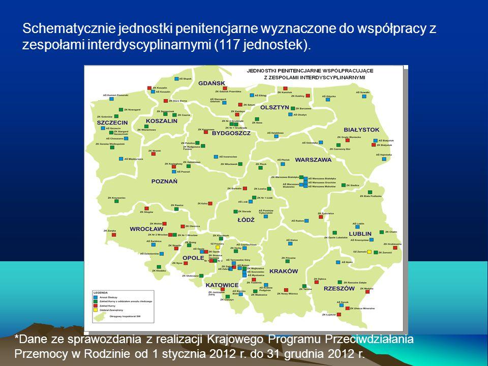 Schematycznie jednostki penitencjarne wyznaczone do współpracy z zespołami interdyscyplinarnymi (117 jednostek). *Dane ze sprawozdania z realizacji Kr