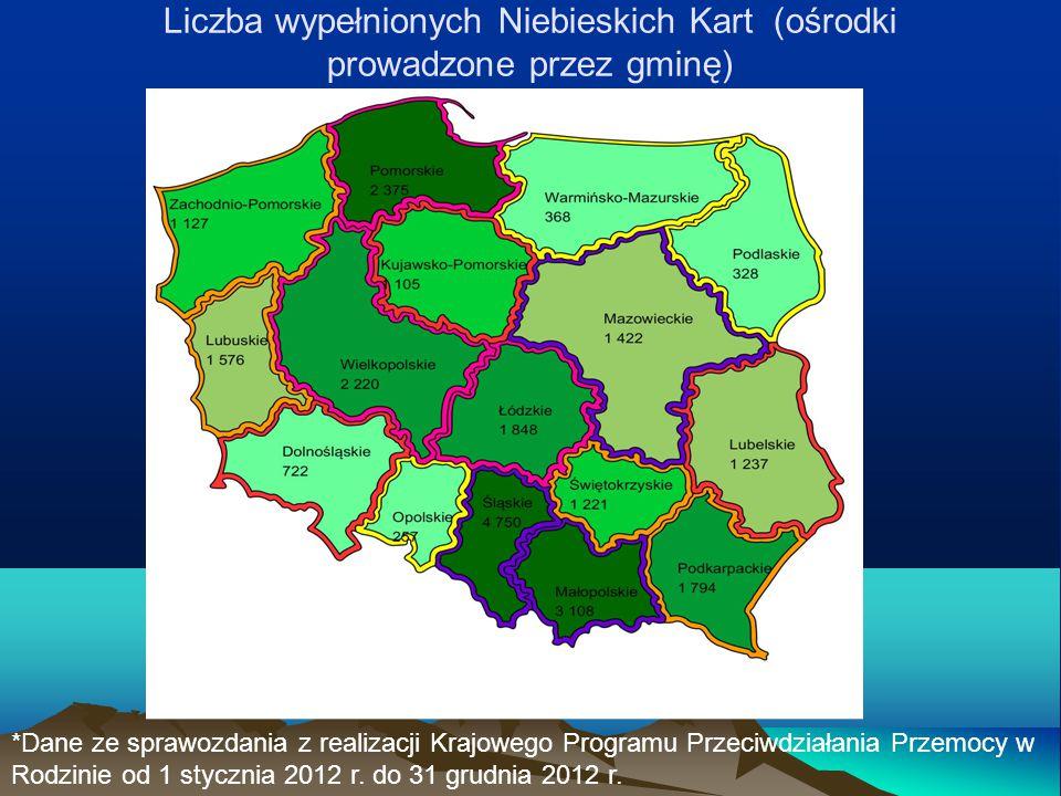 Liczba wypełnionych Niebieskich Kart (ośrodki prowadzone przez gminę) *Dane ze sprawozdania z realizacji Krajowego Programu Przeciwdziałania Przemocy