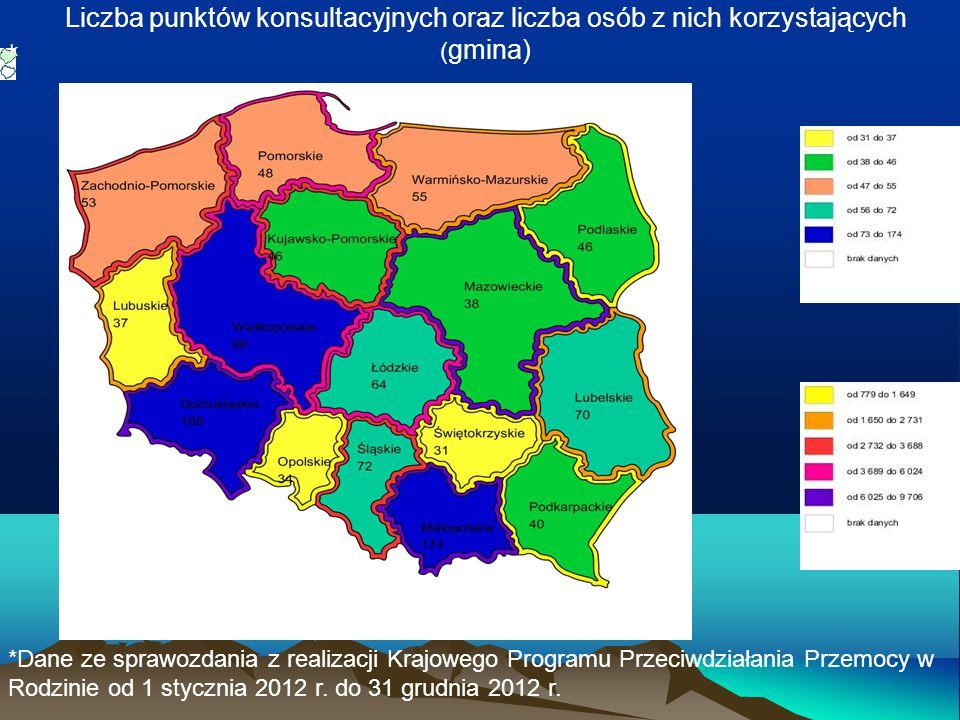 Liczba punktów konsultacyjnych oraz liczba osób z nich korzystających ( gmina) k *Dane ze sprawozdania z realizacji Krajowego Programu Przeciwdziałani
