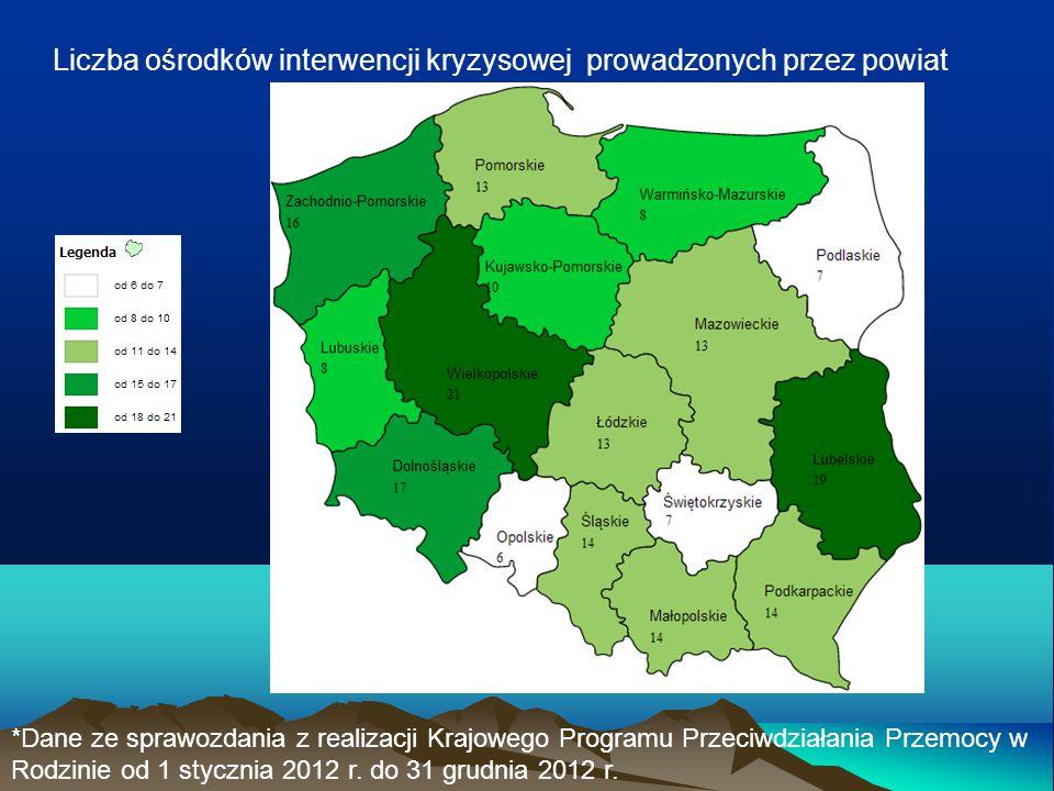 Liczba ośrodków interwencji kryzysowej prowadzonych przez powiat *Dane ze sprawozdania z realizacji Krajowego Programu Przeciwdziałania Przemocy w Rod