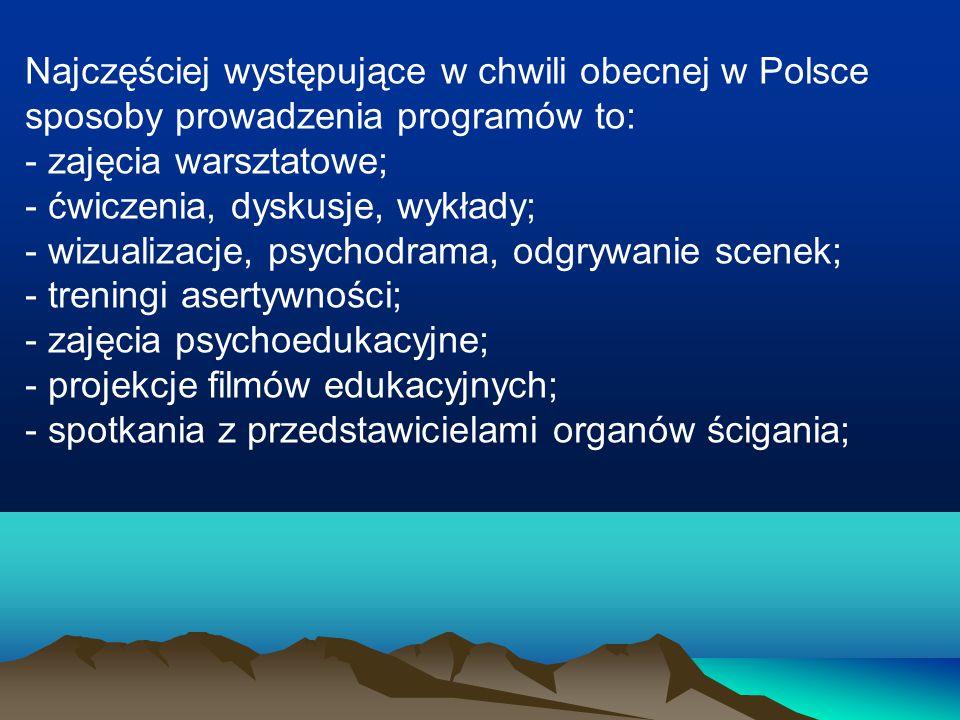 Najczęściej występujące w chwili obecnej w Polsce sposoby prowadzenia programów to: - zajęcia warsztatowe; - ćwiczenia, dyskusje, wykłady; - wizualiza