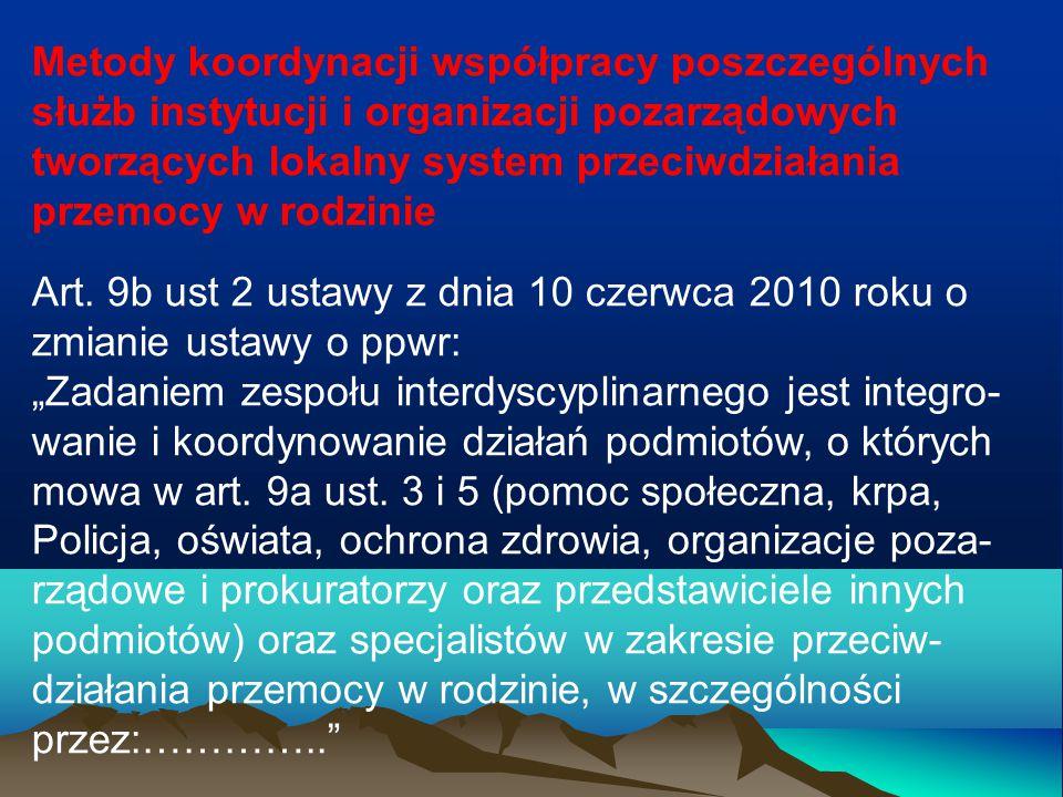 Metody koordynacji współpracy poszczególnych służb instytucji i organizacji pozarządowych tworzących lokalny system przeciwdziałania przemocy w rodzin